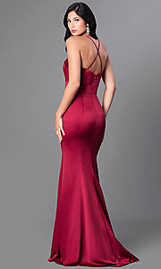 Image of mermaid satin sweetheart formal dress with train. Style: CD-GL-G662 Back Image