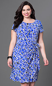 Print Short Sleeve Knee Length Dress