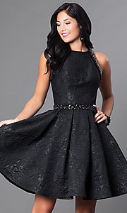 Jewel Neckline Short Box Pleated Homecoming Dress