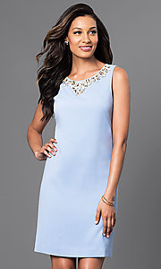 Sleeveless Short Dress with Jeweled Neckline