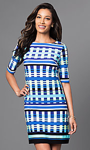 Blue Print Short Dress with Half Sleeves