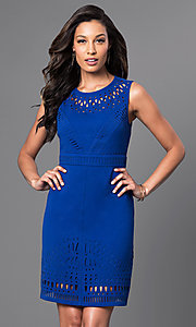 Short Cobalt Blue Dress with Laser Cut Detailing