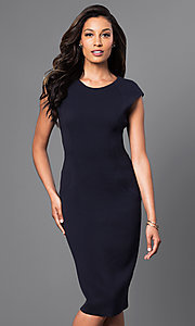 Navy Blue Cap Sleeve Over-the-Knee Dress