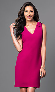 V-Neck Short Dress with Shoulder Detail