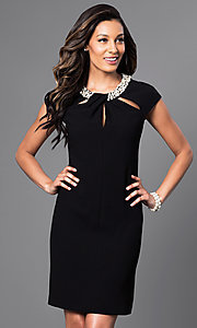Short Black Dress with Neckline Cut Outs