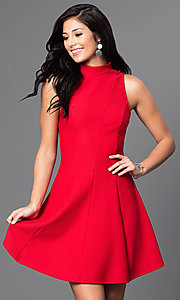 Image of high-neck short open-back a-line homecoming dress. Style: MD-D14609AHA Detail Image 2