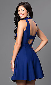 Image of high-neck short open-back a-line homecoming dress. Style: MD-D14609AHA Back Image