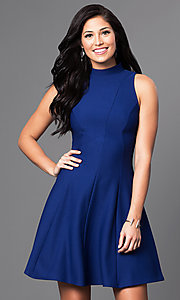 High-Neck Short Open-Back A-Line Homecoming Dress