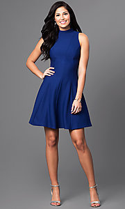 Image of high-neck short open-back a-line homecoming dress. Style: MD-D14609AHA Detail Image 1