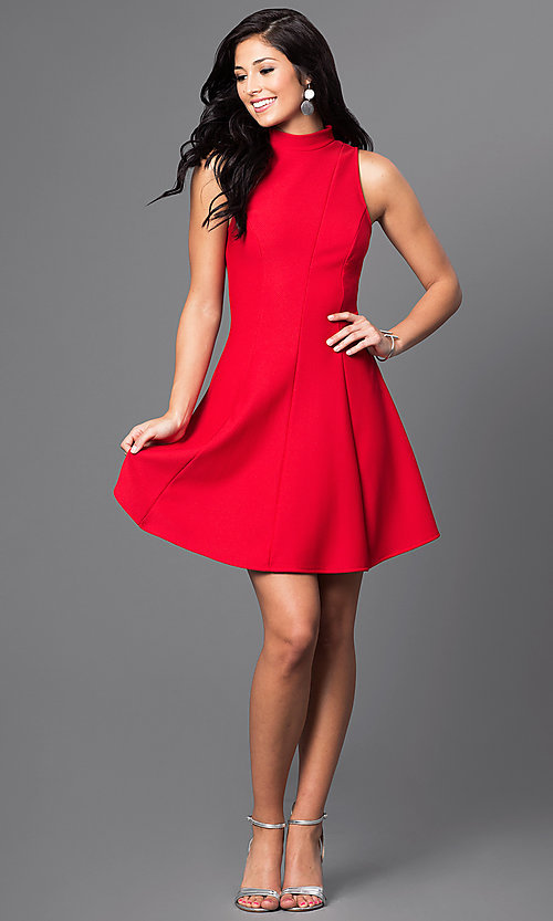 Image of high-neck short open-back a-line homecoming dress. Style: MD-D14609AHA Detail Image 3