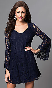 Image of short lace shift party dress with long bell sleeves. Style: VE-868-210730 Front Image