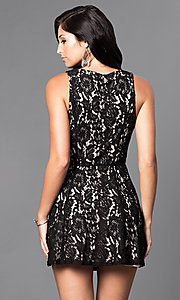 Image of short semi-casual lace v-neck wrap dress. Style: VE-886-212402 Back Image