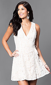 Image of short semi-casual lace v-neck wrap dress. Style: VE-886-212402 Detail Image 1