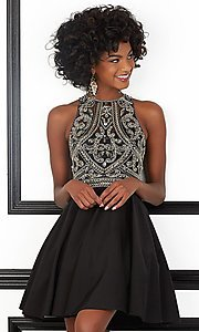 Short Open Back Satin Homecoming Dress