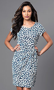 Cap Sleeve Short Print Dress