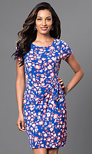 Short Sleeve Print Dress with Ruched Waist
