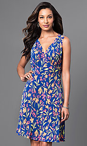 Floral Print V-Neck Knee Length Dress