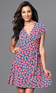 V-Neck Short A-Line Print Dress