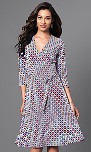 Print Knee Length Three Quarter Length Sleeve Dress