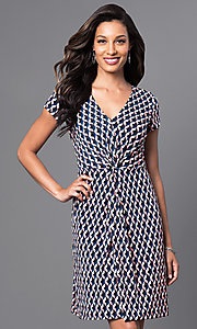Ruched Waist V-Neck Knee Length Print Dress