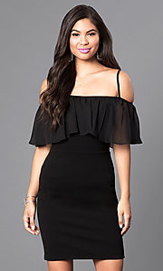 Image of black As U Wish short dress with adjustable straps. Style: AS-i548828e1 Front Image