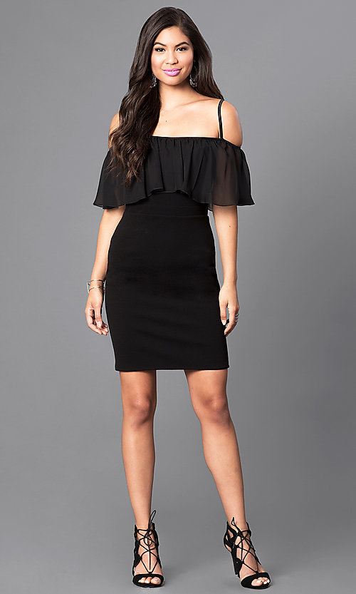 Image of black As U Wish short dress with adjustable straps. Style: AS-i548828e1 Detail Image 1