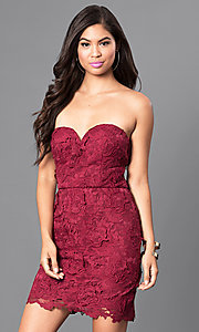 Image of burgundy red short lace strapless semi-formal dress. Style: AS-i546956t5 Front Image