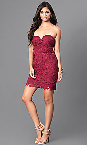 Image of burgundy red short lace strapless semi-formal dress. Style: AS-i546956t5 Detail Image 1
