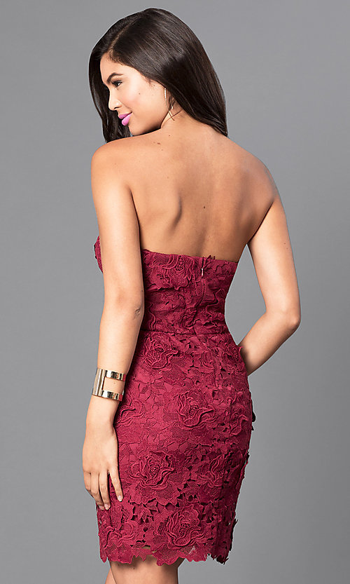 Image of burgundy red short lace strapless semi-formal dress. Style: AS-i546956t5 Back Image