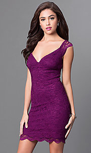 Wide V-Neck Short Lace Homecoming Dress