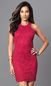 Open Back Short Lace Sheath Homecoming Dress