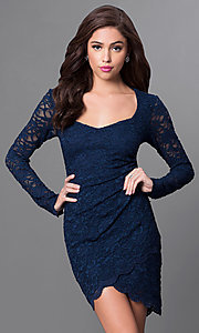 Long Sleeve Lace Asymmetrical Hem Homecoming Dress