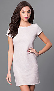 Champagne Nude Sheath Party Dress with Short Sleeves