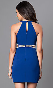 Image of royal blue short high-neck homecoming party dress. Style: DMO-J314206 Back Image