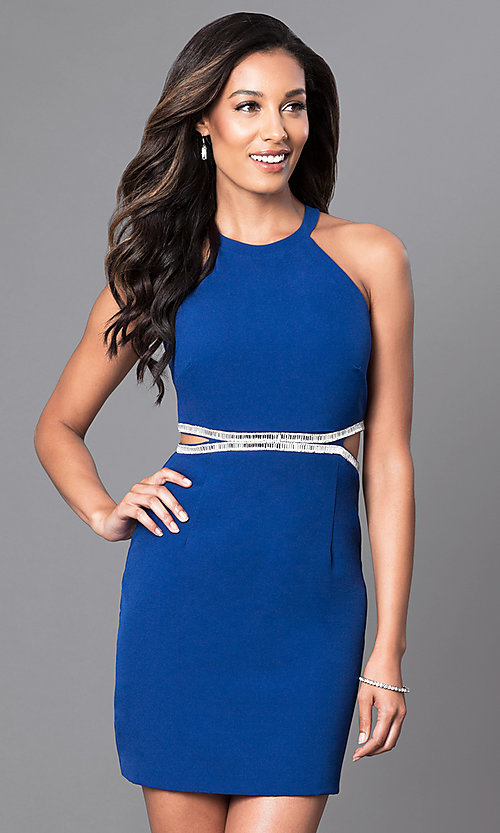 Image of royal blue short high-neck homecoming party dress. Style: DMO-J314206 Front Image