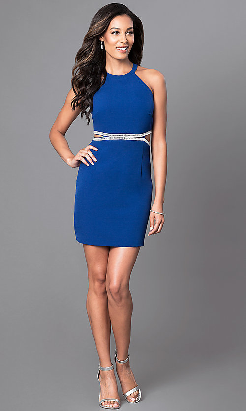 Image of royal blue short high-neck homecoming party dress. Style: DMO-J314206 Detail Image 1