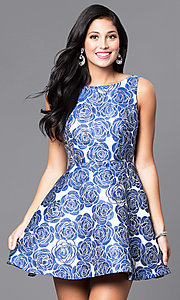 A-Line Short Floral Print Party Dress