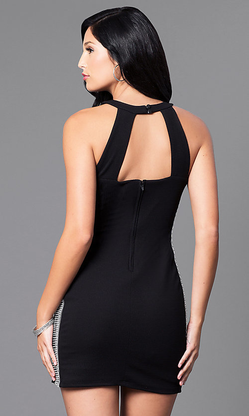 Image of black mini dress with embellished sides. Style: DMO-J314986 Back Image