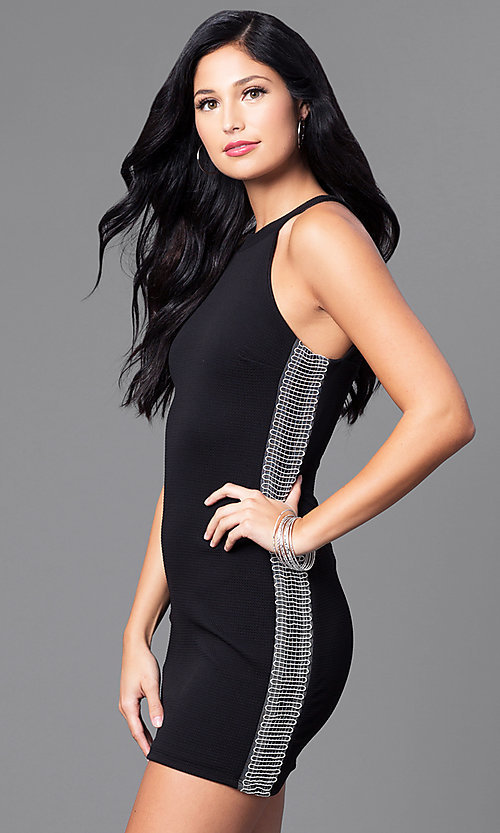 Image of black mini dress with embellished sides. Style: DMO-J314986 Detail Image 1