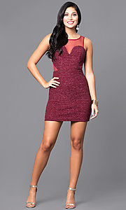 Image of wine red short sleeveless glitter party dress. Style: DMO-J314276 Detail Image 2