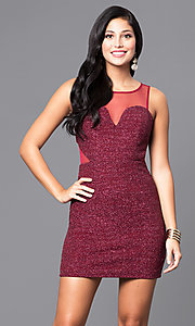 Wine Red Short Sleeveless Glitter Holiday Party Dress