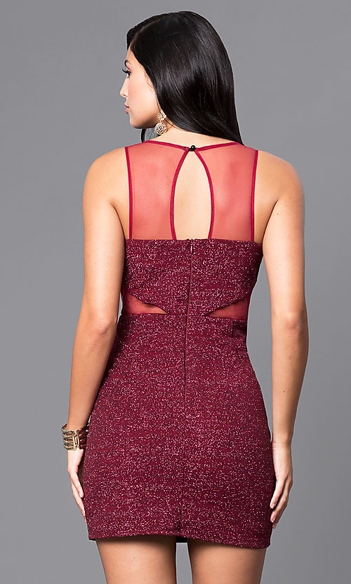Image of wine red short sleeveless glitter party dress. Style: DMO-J314276 Back Image