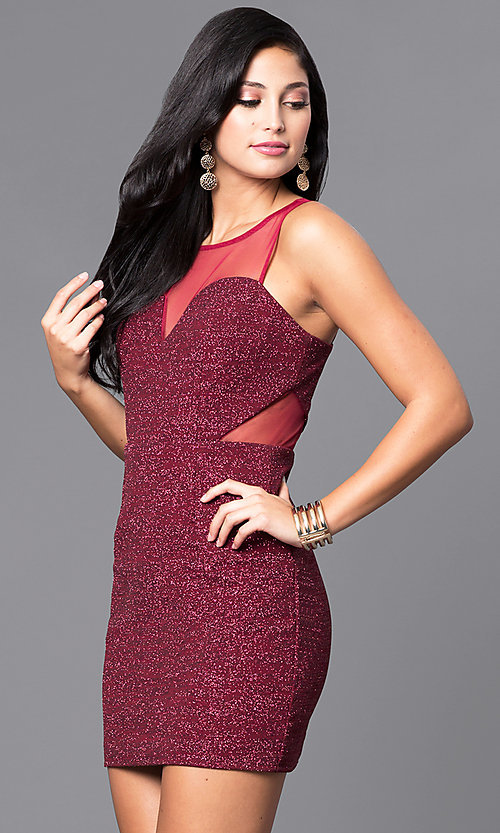 Image of wine red short sleeveless glitter party dress. Style: DMO-J314276 Detail Image 1