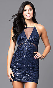 Navy Blue Sequin-Embellished Short Party Dress