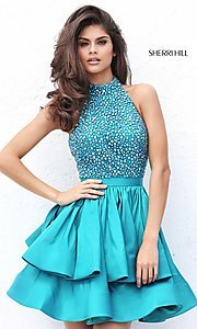 High-Neck Short Sherri Hill Dress with Beaded Top