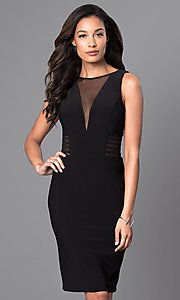 Image of knee-length v-neck trendy designer dress by Morgan. Style: MO-12272 Front Image