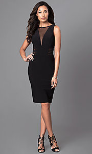 Image of knee-length v-neck trendy designer dress by Morgan. Style: MO-12272 Detail Image 1