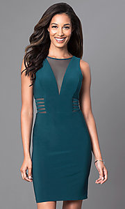Image of knee-length v-neck trendy designer dress by Morgan. Style: MO-12272 Detail Image 2
