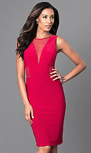 Image of knee-length v-neck trendy designer dress by Morgan. Style: MO-12272 Detail Image 3