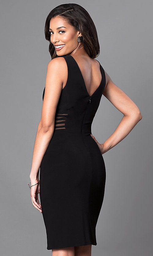 Image of knee-length v-neck trendy designer dress by Morgan. Style: MO-12272 Back Image
